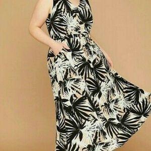 Lane Bryant Palm Leaf Dress Maxi Plus Sz 14/16